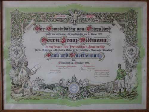 Diplom Franz Wittmann 1930er